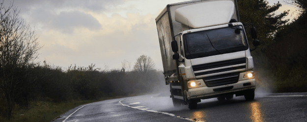 lorry in rain and high winds
