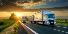 lorries convoy sunset